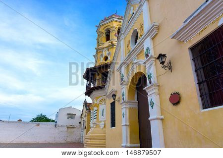 View of the colorful Santa Barbara church in historic Mompox Colombia