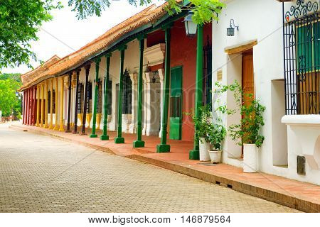 Street of beautiful colonial architecture in Mompox Colombia