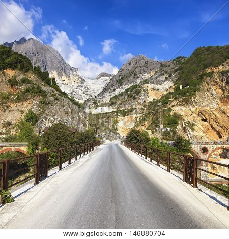 Bridge Ponti di Vara in white marble quarry Apuan Alps Carrara Tuscany Italy Europe