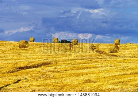 Beautiful Yellow Hill With Haystacks At Sunset