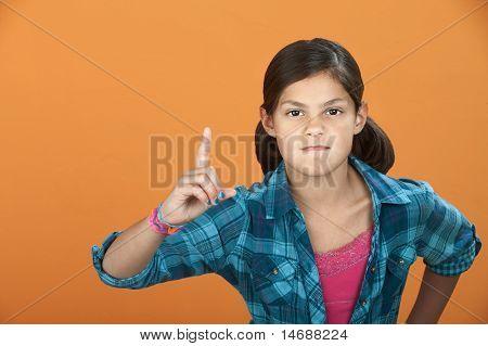 Little Girl Poiting Index Finger