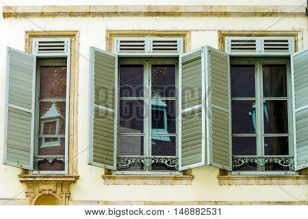 Windows Of Old Centrel In Nancy, France