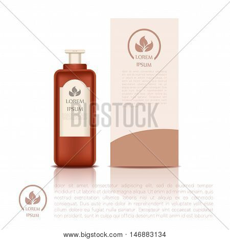 Vector image of the Cosmetic bottle and a box