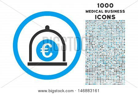 Euro Standard rounded glyph bicolor icon with 1000 medical business icons. Set style is flat pictograms, blue and gray colors, white background.