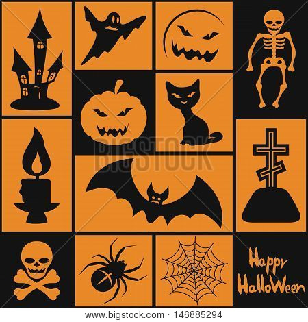 Set of different symbols for Halloween. Vector.