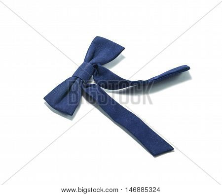 One blue bow tie on white background.