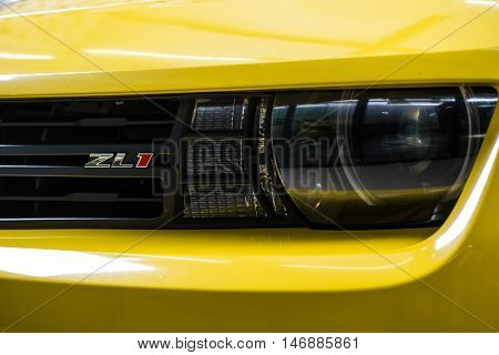 BANGKOK, THAILAND - AUGUST 30, 2016 : Closeup of ZL1 badge on front grill of Chevloret ZL1 2015 model