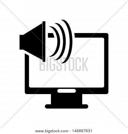 flat design computer monitor and speaker  icon vector illustration