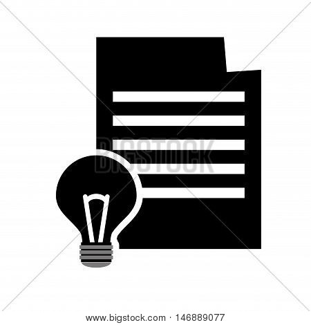flat design paper document icon  and lightbulb vector illustration
