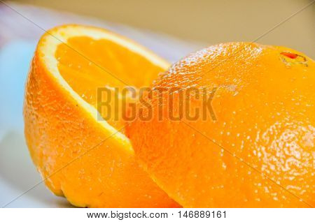 Closeup Of Orange Sliced In Half