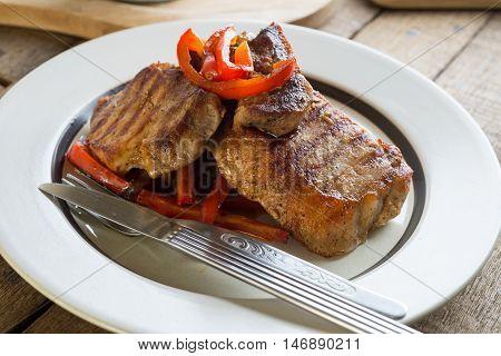 Food series : Closeup of homemade pork steak