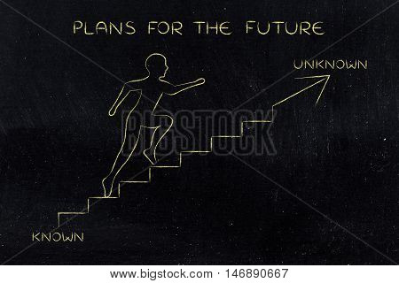 Known Or Unknown, Man Climbing Stairs Towards The Braver Direction