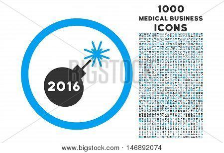 2016 Petard rounded glyph bicolor icon with 1000 medical business icons. Set style is flat pictograms, blue and gray colors, white background.