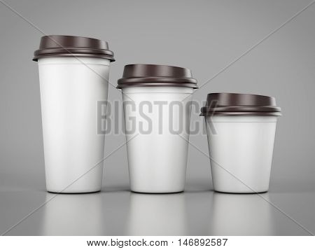 Disposable Plastic Cups Of Different Sizes Standing In A Row. Mockup For Your Desig. 3D Rendering.
