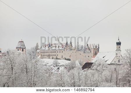 Fussen Castle in winter landscape in Germany