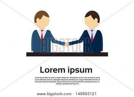 Two Businessman Hand Shake, Business Man Handshake Agreement Concept Flat Vector Illustration