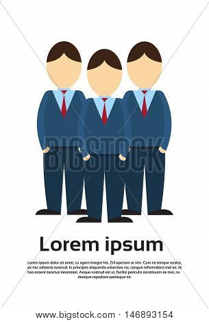 Silhouette Business Man Group Full Length Flat Vector Illustration