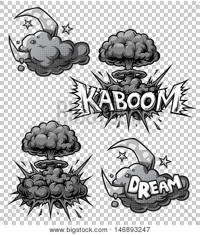 Vector set of monochrome comics icons. Explosion bubbles. Comic book explosion set