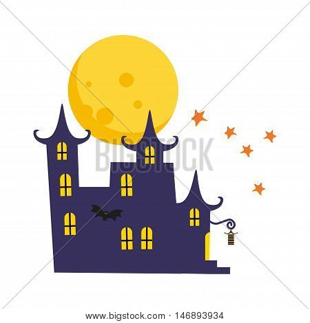 Halloween card with castle, moon and stars. Rising yellow moon on white background. Happy halloween greeting card template. Vector illustration.