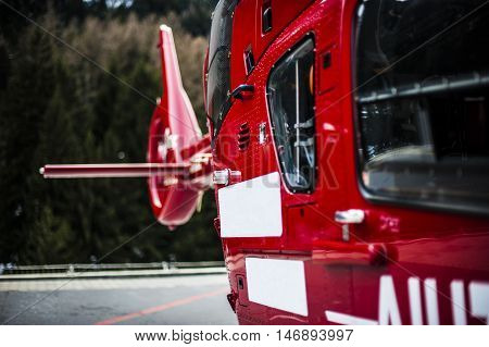 rescue helicopter called for emergency situation after accident