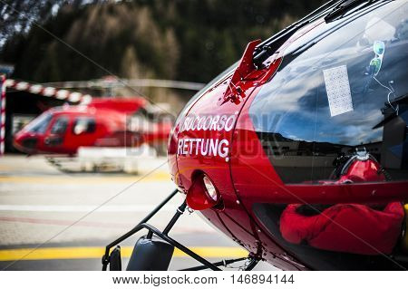 rescue helicopters in the mountains called for emergency situation poster