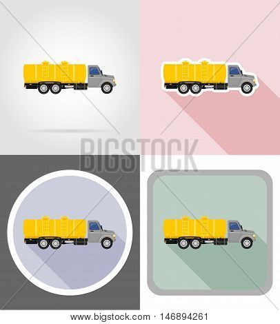 truck with tank for transporting liquids flat icons vector illustration isolated on background