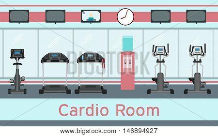 Treadmills exercise bike elliptical trainers cardio equipment in gym interior. Vector illustration in flat style. Cardio room.