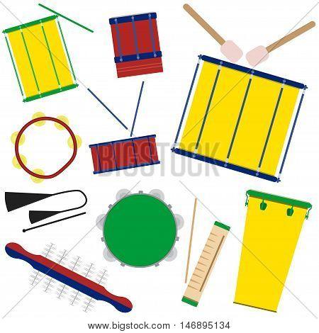 Vector illustration of brazilian samba batucada drums and percussion instruments. Brazilian carnival samba music instruments.
