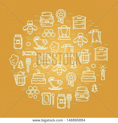 Round card with apiary thin line icons set, vector illustration. Bee honey hive beekeeper deeper tea cake candle award tree jar smoker extractor, refractometer and forest icons, white outline