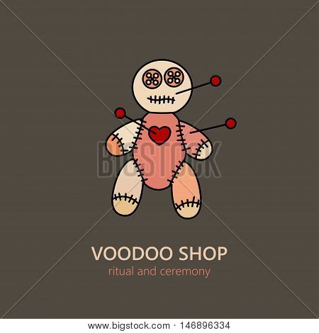 Vector voodoo doll logo for religion and ceremonies. African souvenir and symbol of black magic.