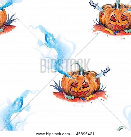 Watercolor Halloween Themed Illustration