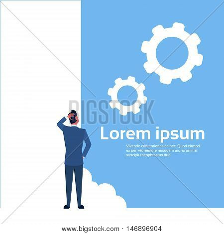 Business Man Ponder Stand Back Think Strategy Flat Vector Illustration