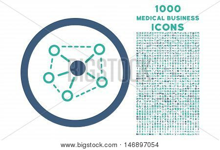 Molecule Links rounded glyph bicolor icon with 1000 medical business icons. Set style is flat pictograms, cobalt and cyan colors, white background.