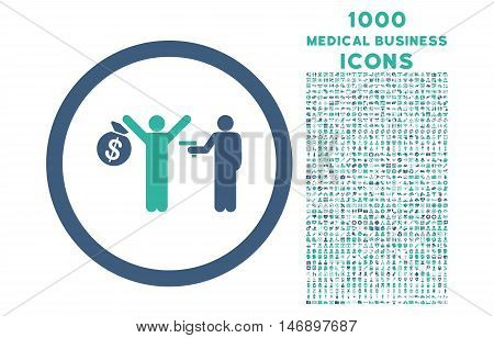 Robbery rounded glyph bicolor icon with 1000 medical business icons. Set style is flat pictograms, cobalt and cyan colors, white background.