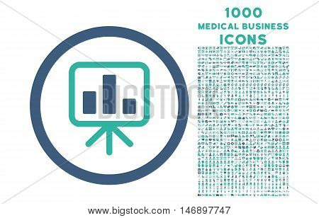 Slideshow Screen rounded glyph bicolor icon with 1000 medical business icons. Set style is flat pictograms, cobalt and cyan colors, white background.