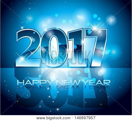 Vector 2017 Happy New Year glossy blue letters