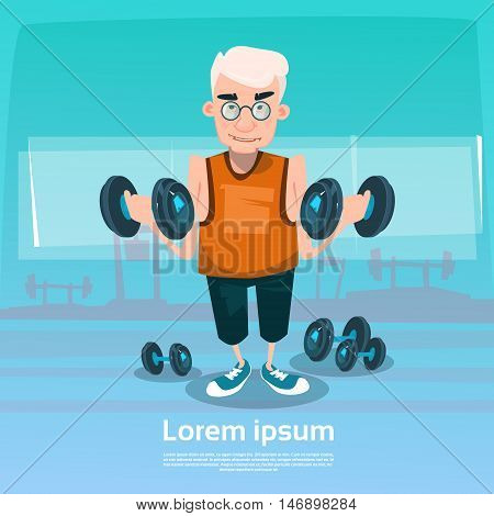 Senior Man In Gym Lifting Weight Exercise Workout Flat Vector Illustration