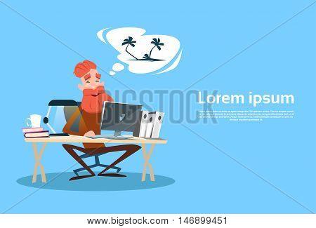 Senior Man Using Computer Elder Businessman Thinking About Seaside Vacation Flat Vector Illustration