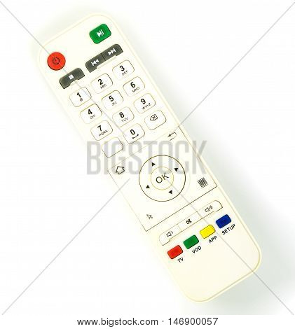 White TV box Entertainment remote control isolated on white.
