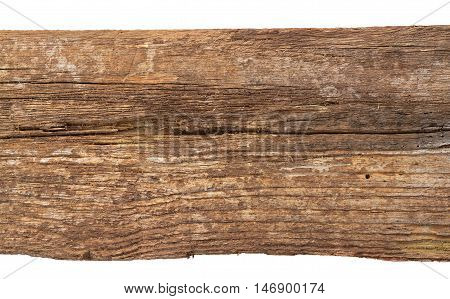 Wooden plank. Old wood on white background. Cracky rustic wood