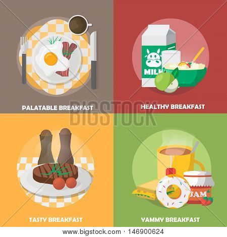 Breakfast colorful compositions with palatable eggs dish healthy nutrition tasty meal tea and sweets isolated vector illustration