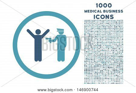Police Arrest rounded glyph bicolor icon with 1000 medical business icons. Set style is flat pictograms, cyan and blue colors, white background.