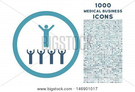 Religion Adepts rounded glyph bicolor icon with 1000 medical business icons. Set style is flat pictograms, cyan and blue colors, white background.