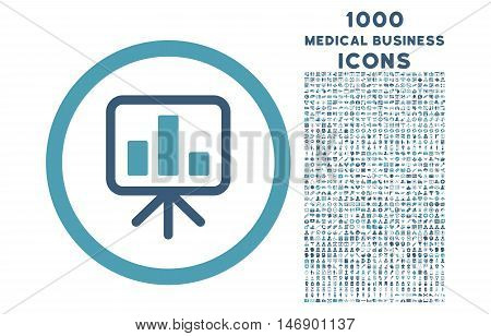 Slideshow Screen rounded glyph bicolor icon with 1000 medical business icons. Set style is flat pictograms, cyan and blue colors, white background.