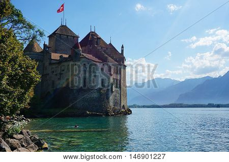 The Castle of Chillon in Montreux, Switzerland. August 2016
