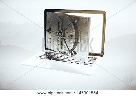 Online banking concept with open bank vault door instead of laptop computer screen on foggy landscape background. 3D Rendering