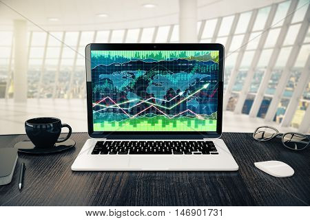 Workplace with forex chart on laptop screen coffee cup computer mouse and glasses in modern interior with daylight and city view. 3D Rendering