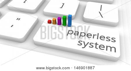 Paperless System as a Fast and Easy Website Concept 3D Illustration Render
