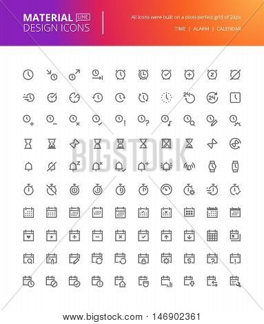 Material design icons set. Thin line pixel perfect icons for time and date, alarm, calendar, events, reminder, organization, schedule, to do list. Premium quality icons for website and app design.
