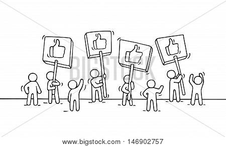 Sketch of crowd little people with like symbols. Doodle cute miniature scene of workers with transparents. Hand drawn cartoon vector illustration for business and internet design.